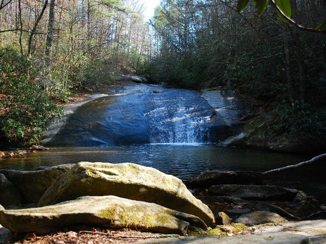 Natural summer slide at Stone Mountain Lower Falls