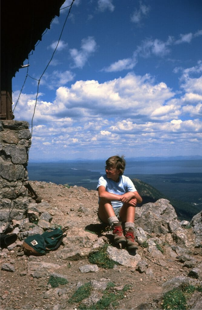 An early summit, atop Mount Sheridan in Yellowstone National Park.
