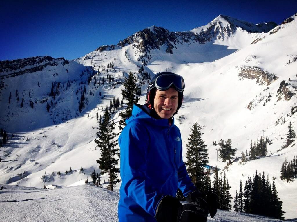 Travis taking a breather during a run at Mineral Basin, Snowbird, Utah.